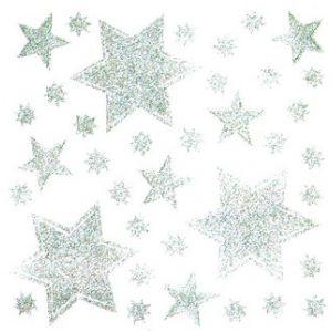 Adhesivo estrellas plata