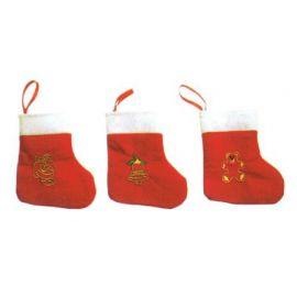 Mini calcetin noel rojo  (pack 3 uds)