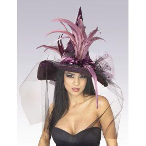 Sombrero bruja plumas