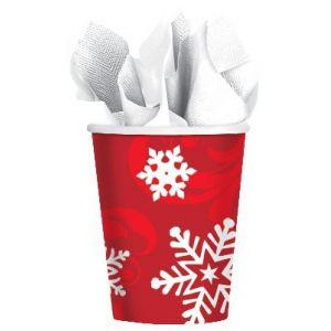 Vasos copo nieve rojo (8 uds)