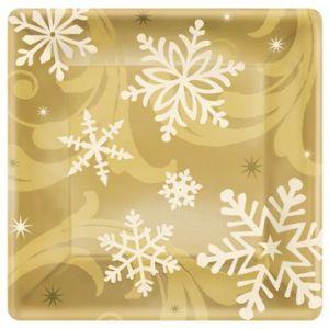 Platos copo nieve oro 26,6 cm (8 uds)