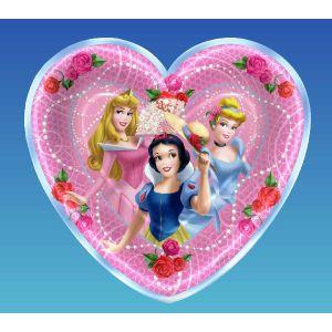 Platos princesas corazon 18 cm (8 uds)