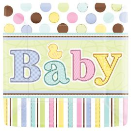 Platos baby shower 17,7 cm (18 uds)