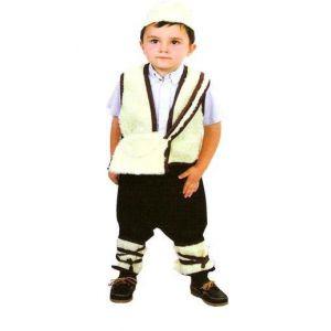 Disfraz pastor bt blanco ribete marron