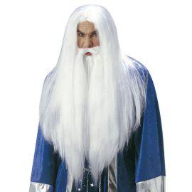 Peluca mago con barba y bigote
