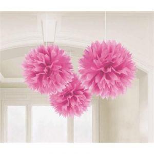 Pom pom decoracion rosa pack 3 unidades