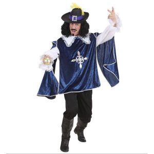 Disfraz mosquetero deluxe azul hombre