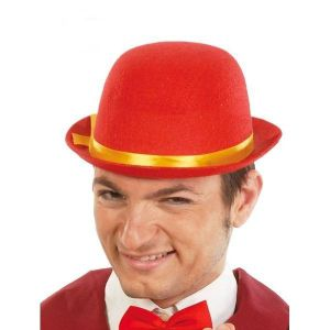 Sombrero bombin fieltro rojo