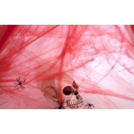 Tela de araña roja sangrienta con arañas