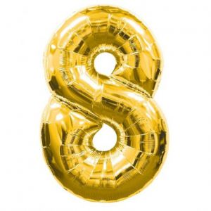 Globo helio numero 8 oro