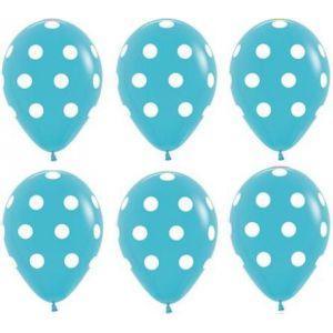 Globos azules lunares blancos (10 und)