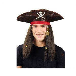 Peluca pirata con sombrero