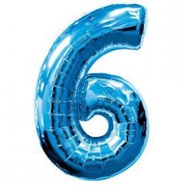 Globo helio numero 6 azul