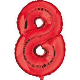 Globo helio numero 8 rojo