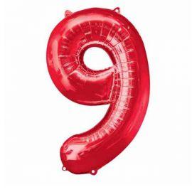 Globo helio numero 9 rojo