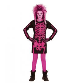 Disfraz esqueleto rosa niña