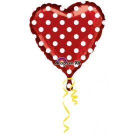Globo helio corazon rojo con puntos
