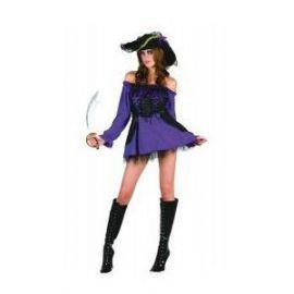 Disfraz piratesa lila con sombrero
