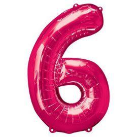 Globo helio numero 6 rosa