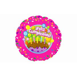 Globo helio feliz cumpleaños tarta