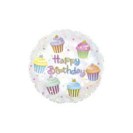Globo helio feliz cumple cupcakes