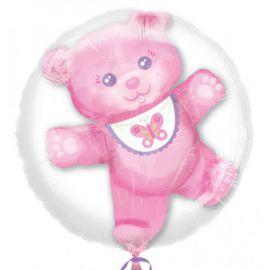 Globo helio osito rosa burbuja