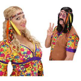 Cinta hippie con perlas y plumas