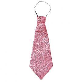 Corbata rosa lurex