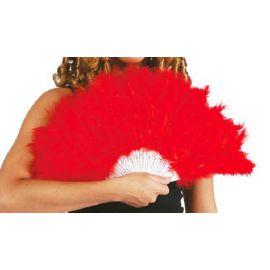 Abanico plumas rojo