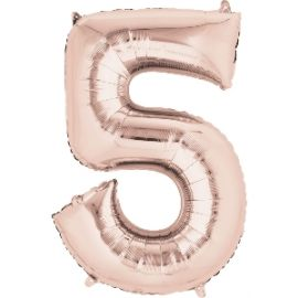 Globo helio número 5 rosa dorado