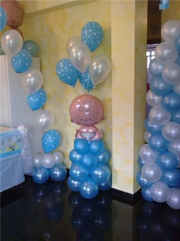 Globos bautizo ni o decoracion de globos pinterest for Decoracion de baby shower nino