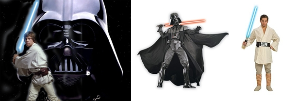 Disfraz de Darth Vader y Luke Skywalker de lujo para adulto
