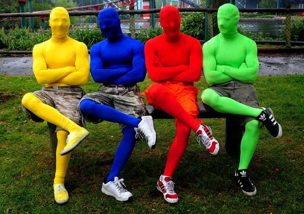 Monos ajustados de colores disfraces