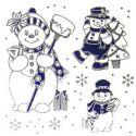 Adhesivo muñecos nieve plata/azul