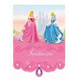 Invitaciones princesa con sobre (6 unid)