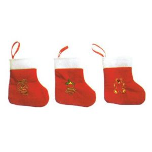 Mini calcetin noel rojo (pack 3 uds)