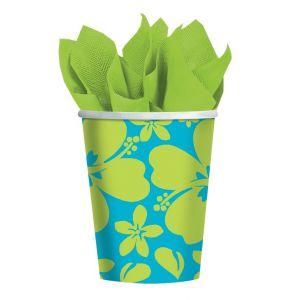 Vasos hibiscus azul (pack 8 unid.)