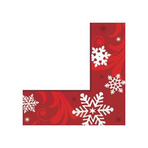 Servilletas 33x33 copo nieve rojo(16uds)
