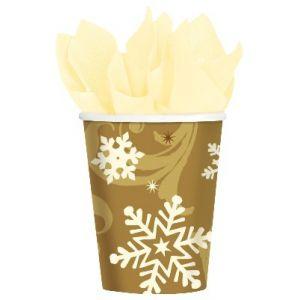 Vasos copo nieve oro (8 uds)