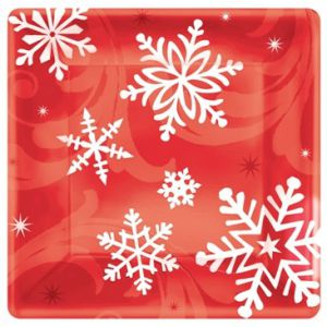 Platos copo nieve rojo 26,6 cm (8 uds)