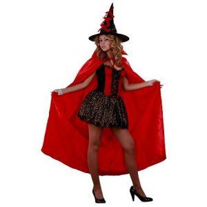 Disfraz bruja roja con capa adulto