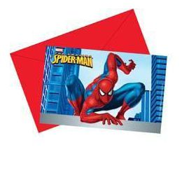 Invitaciones spiderman con sobre (6 uds)