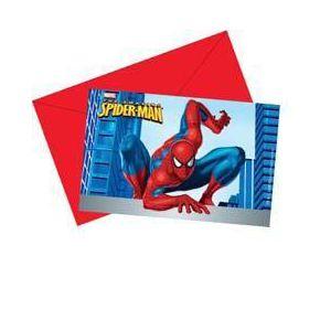 Invitaciones spiderman con sobre (6 uds)