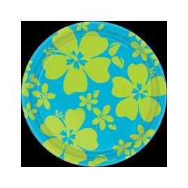 Platos hibiscus azul 17,7 cm (8 unid)
