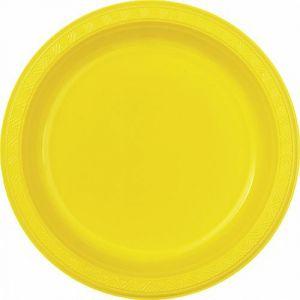 Platos amarillos 23 cm (8 unid)