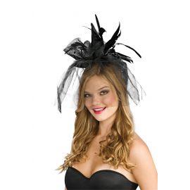 Mini sombrero negro plumas-velo