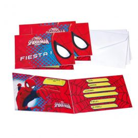 Invitaciones spiderman 3d (6 unid)