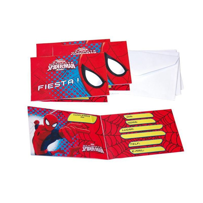 Invitaciones Spiderman C Sobre 6 Unid Barullo Com