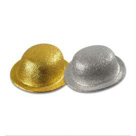 Sombrero bombin oro y plata
