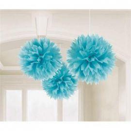 Pom pom decoración pack 3 unidades azul